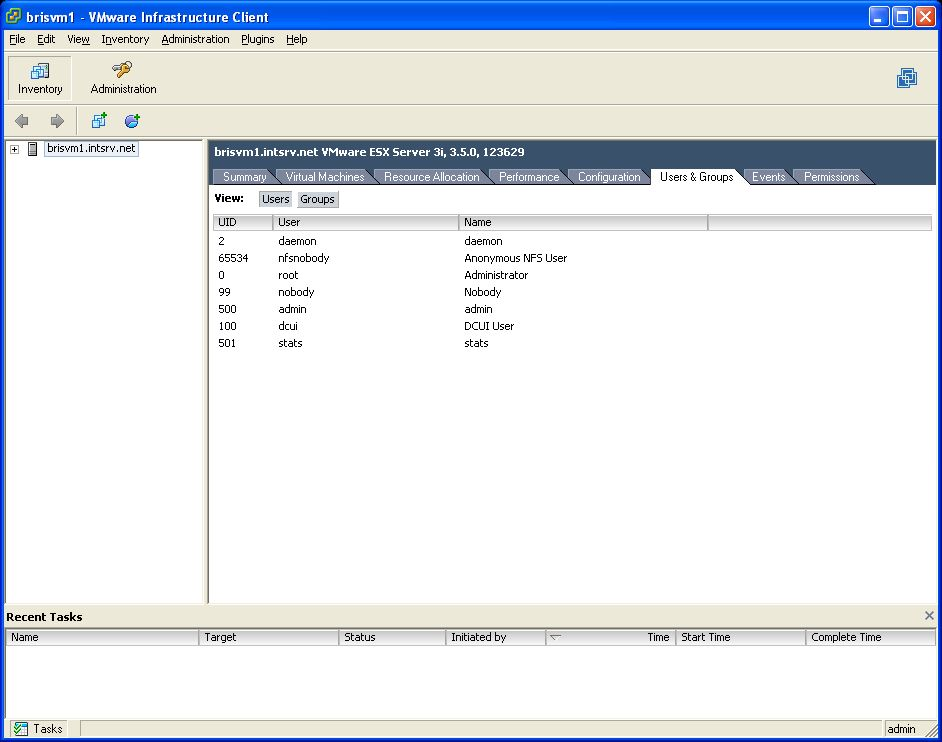 VMWare ESXi 3.5 Add Stats User Step 1