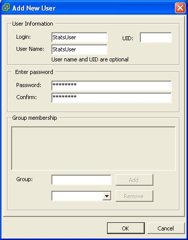 VMWare ESXi 3.5 Add Stats User Step 2